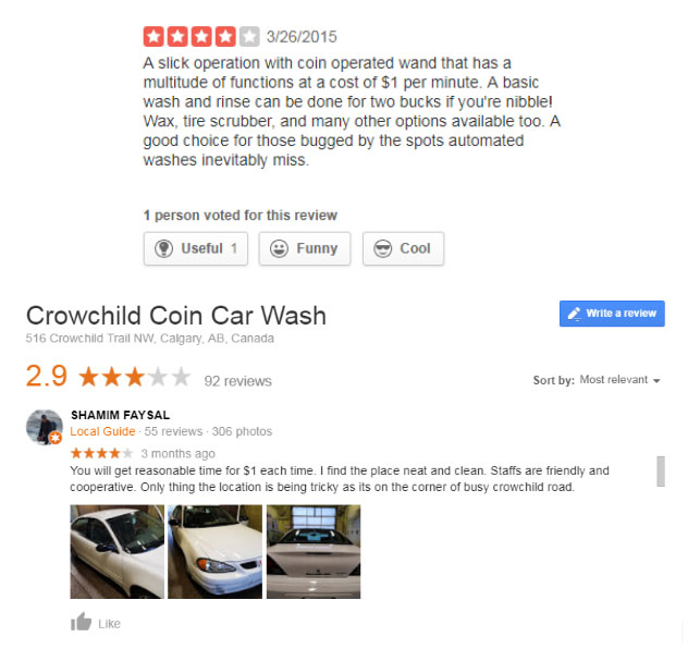 Crowchild Coin Car Wash Reviews