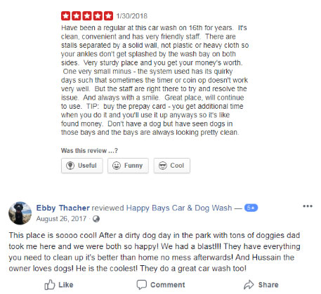 Happy Bays Car and Dog Wash Reviews